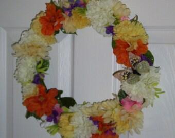 ON SALE ......Door wreath, Summer Wreath, Flower Wreath, Butterfly Wreath