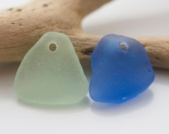 Charming Seaglass Charms Duo. Cobalt Blue & Seafoam. Sea Glass, Beachglass, Eco Friendly, Upcycled, Jewelry Supply, 2 Pieces. Lot F6