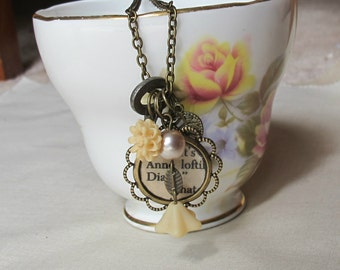 Anne of Green Gables Charm Necklace Anne Shirley Beige Tan Champagne Beaded. Skeleton Key Vintage Upcycled. Brass Literature Flower Gift