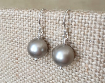 Platinum Swarovski Crystal Pearl Earrings