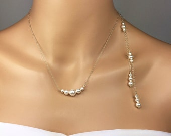 Pearl Back Necklace Set Bridal Jewelry Pearl Back Necklace Backdrop Necklace Piper