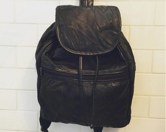 Leather Backpack Vintage Black Patchwork