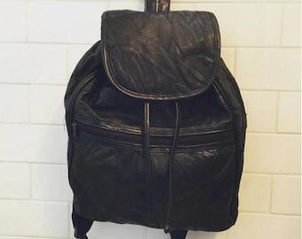 Leather Backpack Black Vintage Patchwork