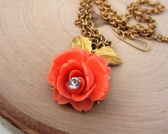 Vintage rose necklace. Gold necklace. Bright coral rose. Clear rhinestone center. Pink, peach flower. Gold leaves. Gift women.
