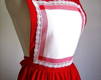 DRESS APRON Vintage Kitchen Pinafore Bib Skirt Cover Cotton Country Print RED and Cream