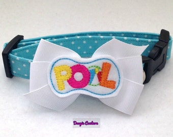 Life Is Better At The Pool Dog Collar Size XS through Large by Doogie Couture Pet Boutique