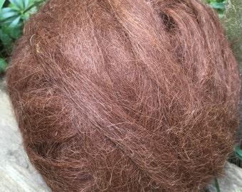 Suri Alpaca Roving, Spinning Fiber, 4 Ounces, Medium Brown, Mabelle