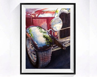 Vintage Cars Auto Art, Classic car art print, Red Hot Rod, Fine art watercolor print, Man cave, Gift for Him, WatercolorByMuren