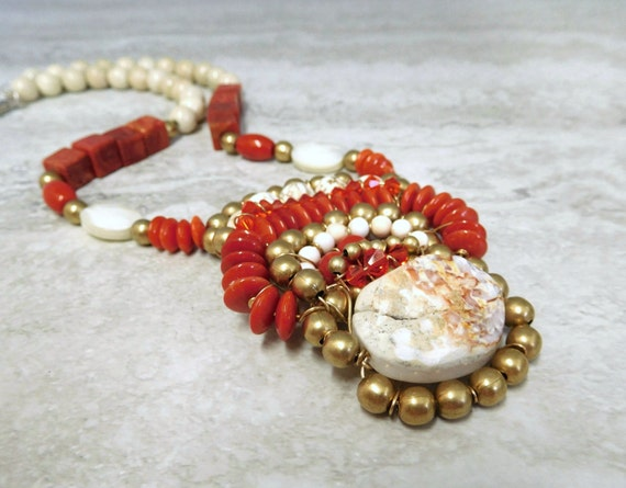Sale Tribal Pendant  Necklace in Red Coral & Rough White Agate- Native American Aztec Inspired Jewelry Wired by Sharona Nissan