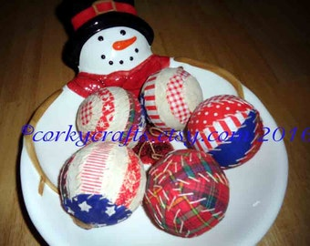 Americana rag ball ornaments/bowl fillers/vase fillers set of 5
