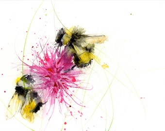 limited edition print of my BUMBLE BEE 14  archival quality.  hand signed, illustration, animal art