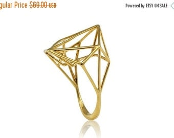 Valentines Day Sale Geometric Gold Ring, Architecture Brass Ring, Bridal Jewelry, Bridale Ring, Brass Jewelry, Minimal Ring Design