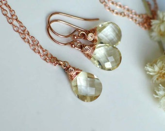 Oregon Sunstone Pendant Necklace Earrings Set | Champagne Pear Briolettes | 14k Rose Gold Fill Cable Chain | Birthday Gift | Bridal Jewelry