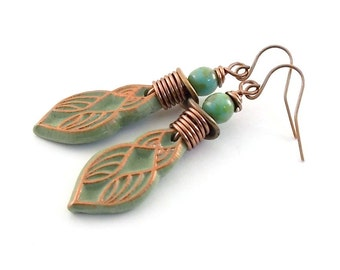 Sage Green and Copper Tribal Earrings - Green Earrings - Copper Earrings - Antique Copper - Lightweight Earrings - Boho Earrings - AE051