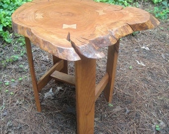 Table Cherry Tree Trunk with Lacquer Finish