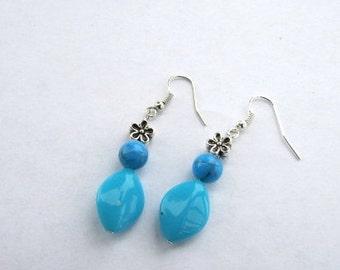 Acrylic Turquoise Earrings, Blue Earrings, Drop Earrings