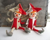 Vintage Jester Elf Pixies Christmas Figurines