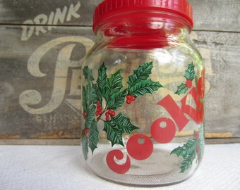 Vintage Christmas Cookies Glass Canister Holly Berry