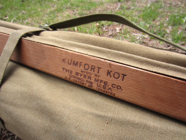 Vintage Folding Camp Cot Army Cot Kumfort Kot
