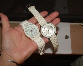 super good deal white watches- VINTAGE FIXER UPPERS-still can be nice japan movements- large sz ceramic look
