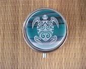 Honu Turtle Fused Glass Metal Pill Box Case Holder