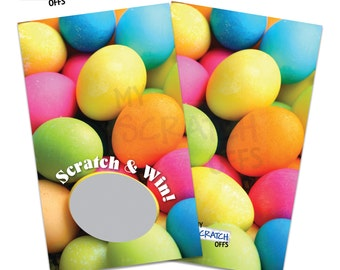 Easter Scratch Off Game Cards Colorful Easter Egg - Spring Scratch & Win Game Card Scratch Off Ticket Favor