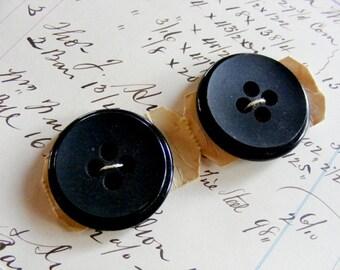 Vintage 1950's Costume Maker Buttons Matte Black 1 7/16 inch