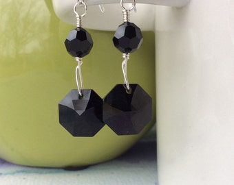 FREE SHIPPING Sterling Silver Wire Wrapped Black Swarovski Crystal Dangle Earrings