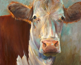 Cow Painting Agnes -  print of an original painting on paper by Cari Humphry