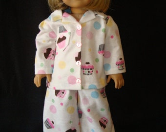 """18 inch doll clothes/Cupcakes & Polka Dots/Flannel pajamas and slippers/READY TO SHIP/4piece set fits 18"""" doll like American Girl"""