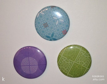 Mazes Pattern Origami Button / Magnet Set of 3