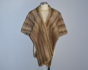 ON HOLD / Not for Sale / Long mink fur stole / vintage 1950s capelet / ash blonde mink fur cape shrug wrap / wedding bridal fur