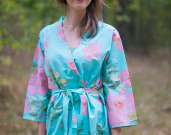 Turquoise Blue Pink Large Floral Blossoms Patterned Robe | Kimono Style getting ready robe for wedding day, bridal shower, dressing gown