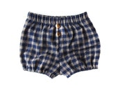 Navy and Ecru Plaid Cotton Blommers with Brass Buttons