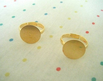 Gold Metal Rings, Adjustable Ring Blanks, Large Pad Base, Gold Plated, 14 mm Pad (20)