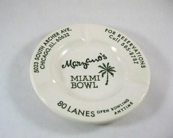 Vintage Marzano's Miami Bowl Ashtray, Mid Century Memorabilia
