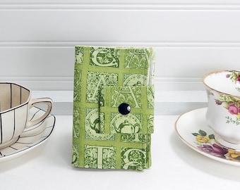 Tea wallet - Teabag case for travel - green tea print -  4 pockets - green tea wallet