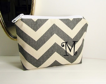 Personalized Makeup Bag chevron zigzag stripes with Initial, Bridesmaid gift Small Chevron makeup bag, personalized bag, monogramed
