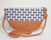 Nana handmade fabric + leather half-moon crossbody bag
