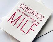 Letterpress Baby Congratulations card- MILF