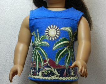 BK Royal Blue Tank with Palm Trees, Sun, Beach and Dolphin Graphic Design - 18 Inch Doll Clothes fits American Girl
