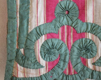 18th c Raspberry Silk Pelmet, Ciel de Lit, Arabesque Ribbon Work ~ Fabulous Period Piece