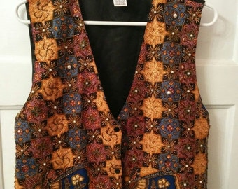 SALE glam beaded vest 1980s Dynasty boho grunge one size xl