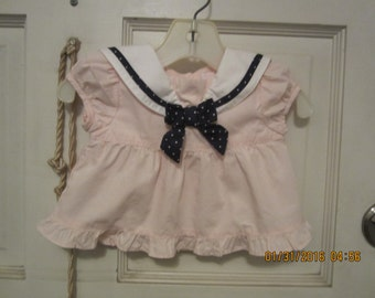 JANIE and JACK Vintage Style Pink SAILOR  Baby Girl Diaper Top Dress 0-3 M Trimmed with Navy bow