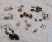Lot of 12 Assorted Pairs Pierced Earrings for Wearing or Parts Supplies (#04)