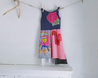 Upcyled Tshirt Girls Dress, 3T-4T