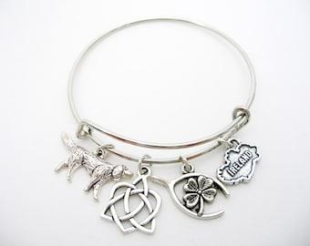 Irish Wolfhound Silver  Bangle Charm Bracelet Adjustable Lucky Four Leaf Clover Irish Charm Bracelet
