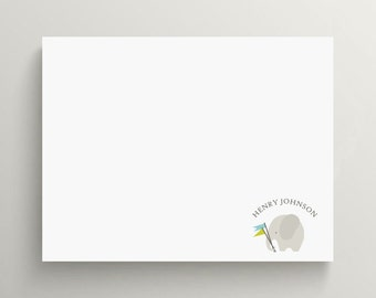 grey elephant note card set  //  thank you note set  //  personal stationery // baby elephant // baby shower // flags // gender neutral