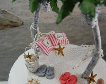 SALE! Honeymoon Hammock Wedding Cake Topper Custom Artisan Handmade  To Order With Bride And Groom Flops, And More