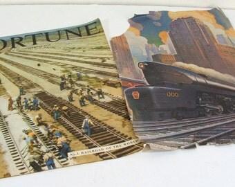 Train, Railroad Ephemera Magazine Cover, Page, 1940s